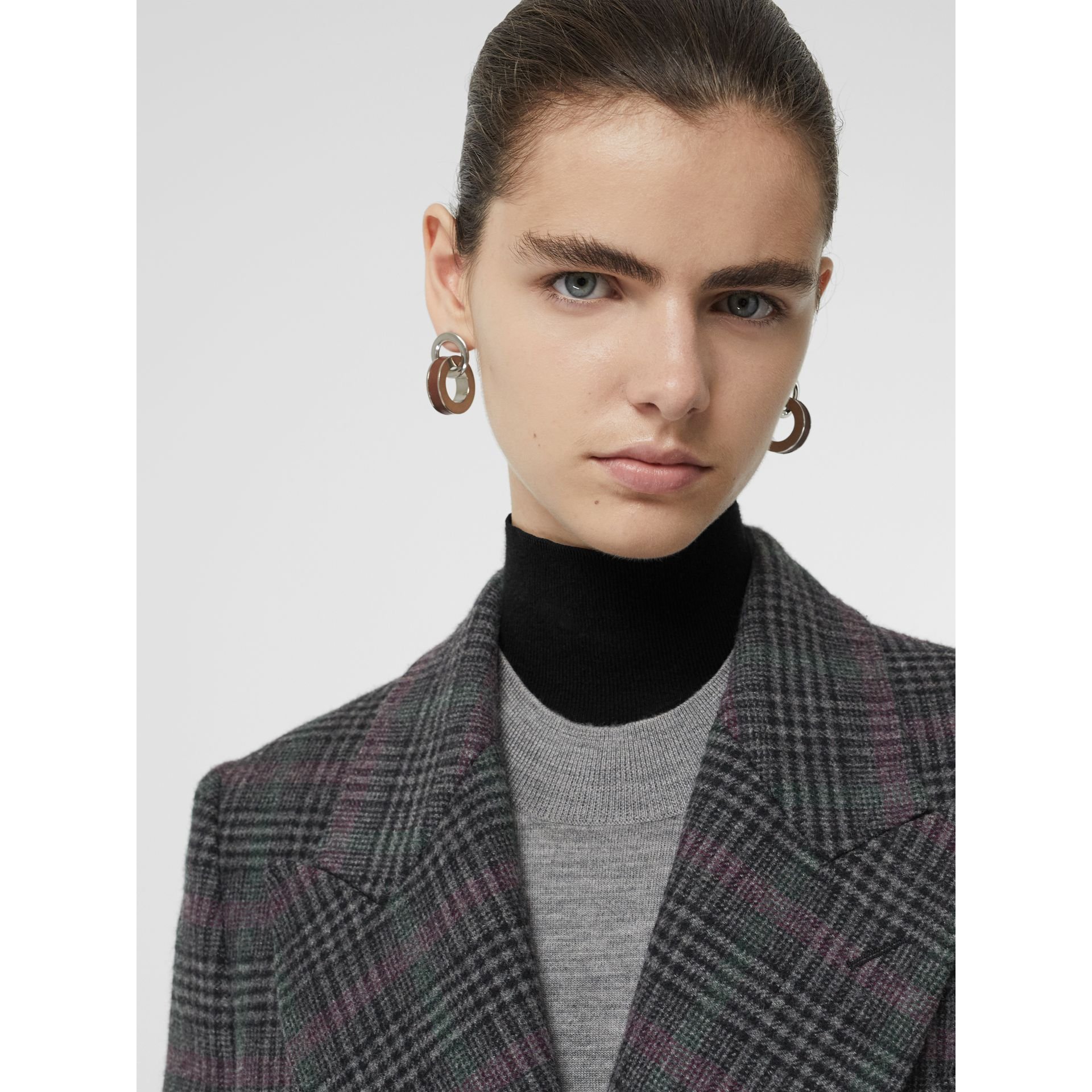 Prince of Wales Check Wool Tailored Coat in Charcoal - Women | Burberry - gallery image 1