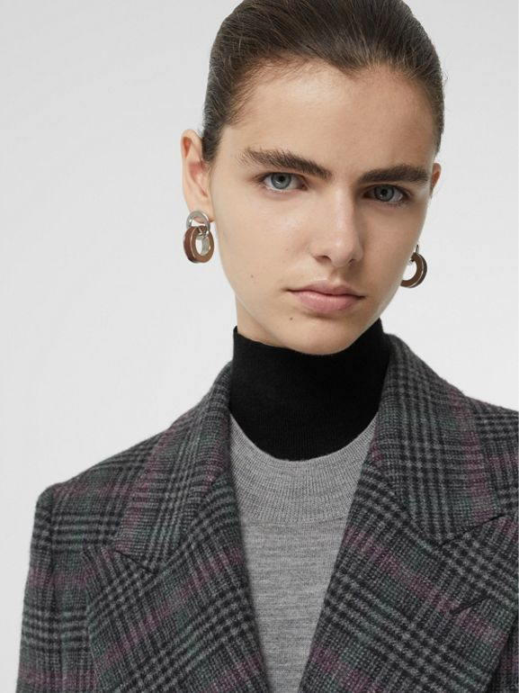 Prince of Wales Check Wool Tailored Coat in Charcoal - Women | Burberry United States - cell image 1