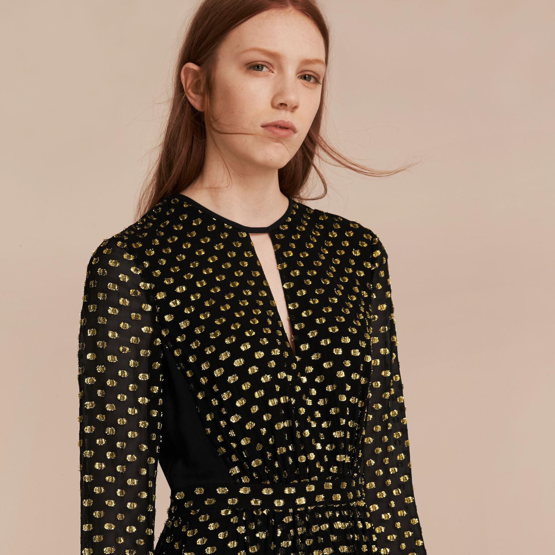 Gold/black Metallic Polka Dot Long-sleeved Silk Dress - gallery image 5