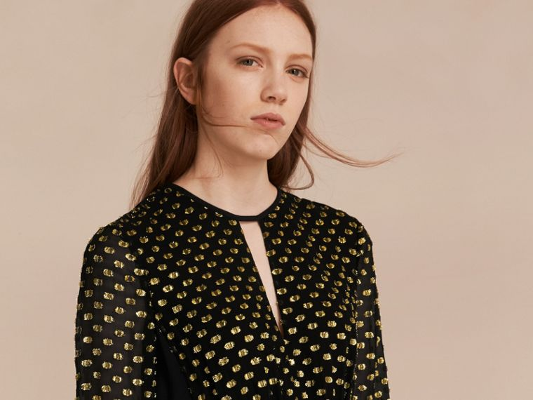 Gold/black Metallic Polka Dot Long-sleeved Silk Dress - cell image 4