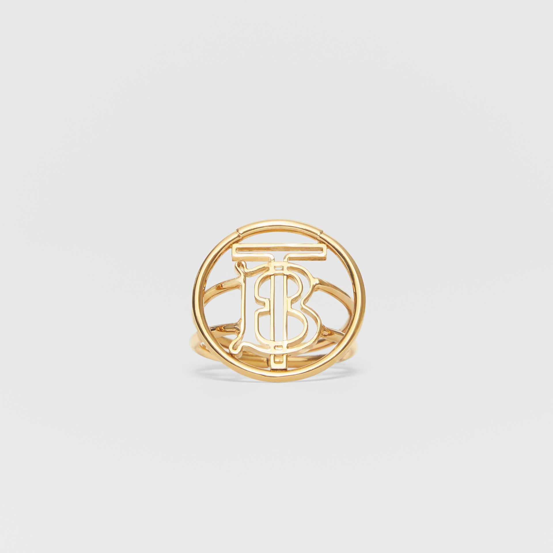 Large Gold-plated Monogram Motif Ring in Light - Women | Burberry United Kingdom - gallery image 0