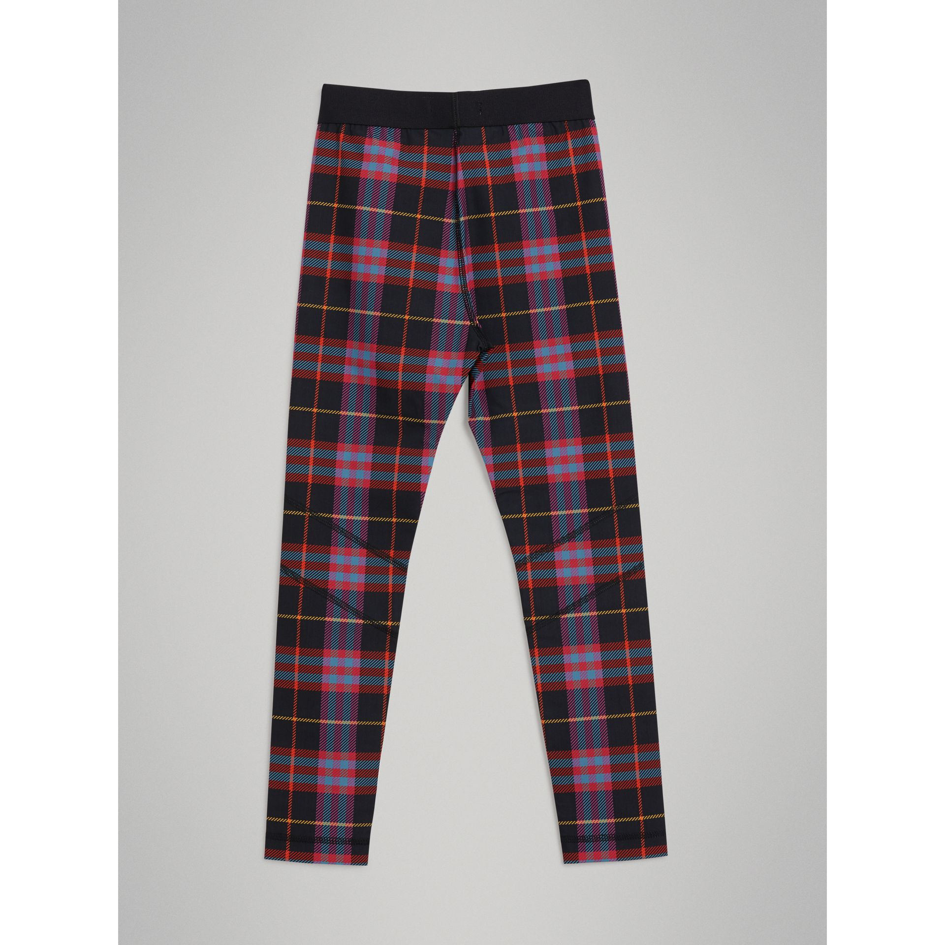 Tartan Stretch Jersey Leggings in Pink Sorbet | Burberry United Kingdom - gallery image 3