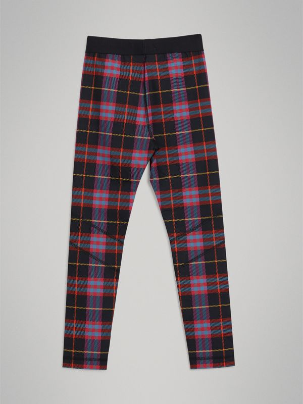 Tartan Stretch Jersey Leggings in Pink Sorbet | Burberry - cell image 3