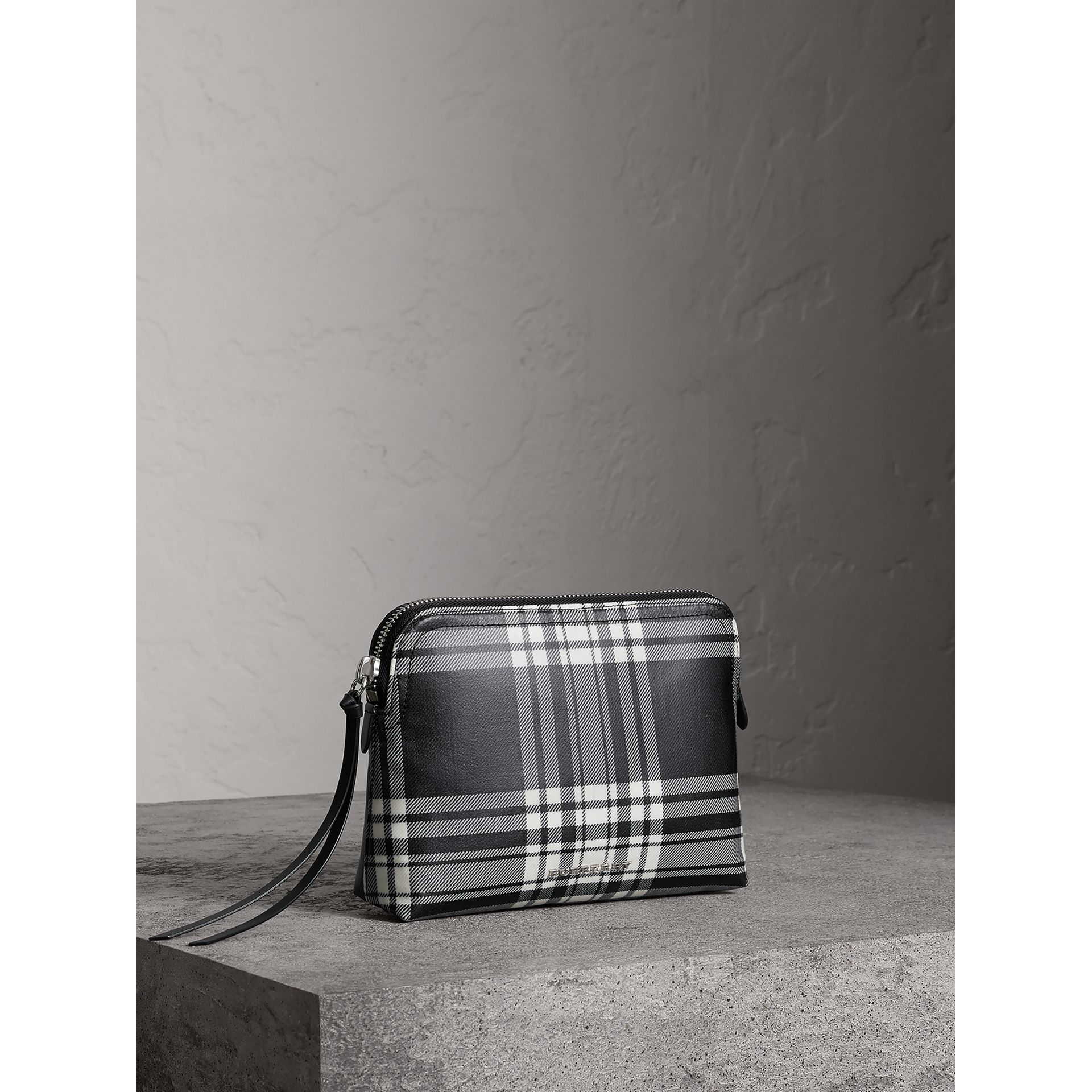 Large Laminated Tartan and Check Wool Blend Pouch in Black/white - Women | Burberry - gallery image 6