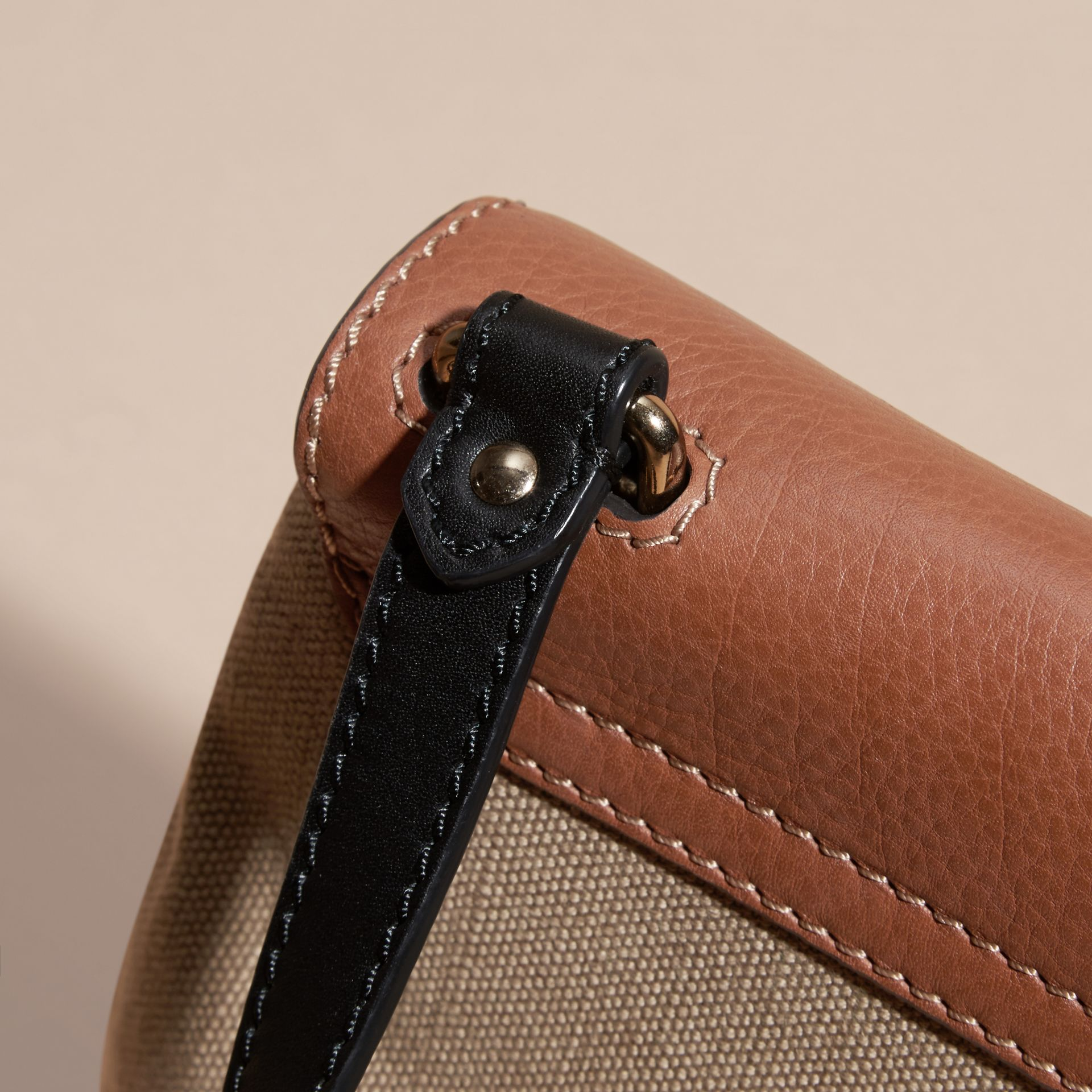 Tan Canvas Check and Leather Crossbody Bag - gallery image 6