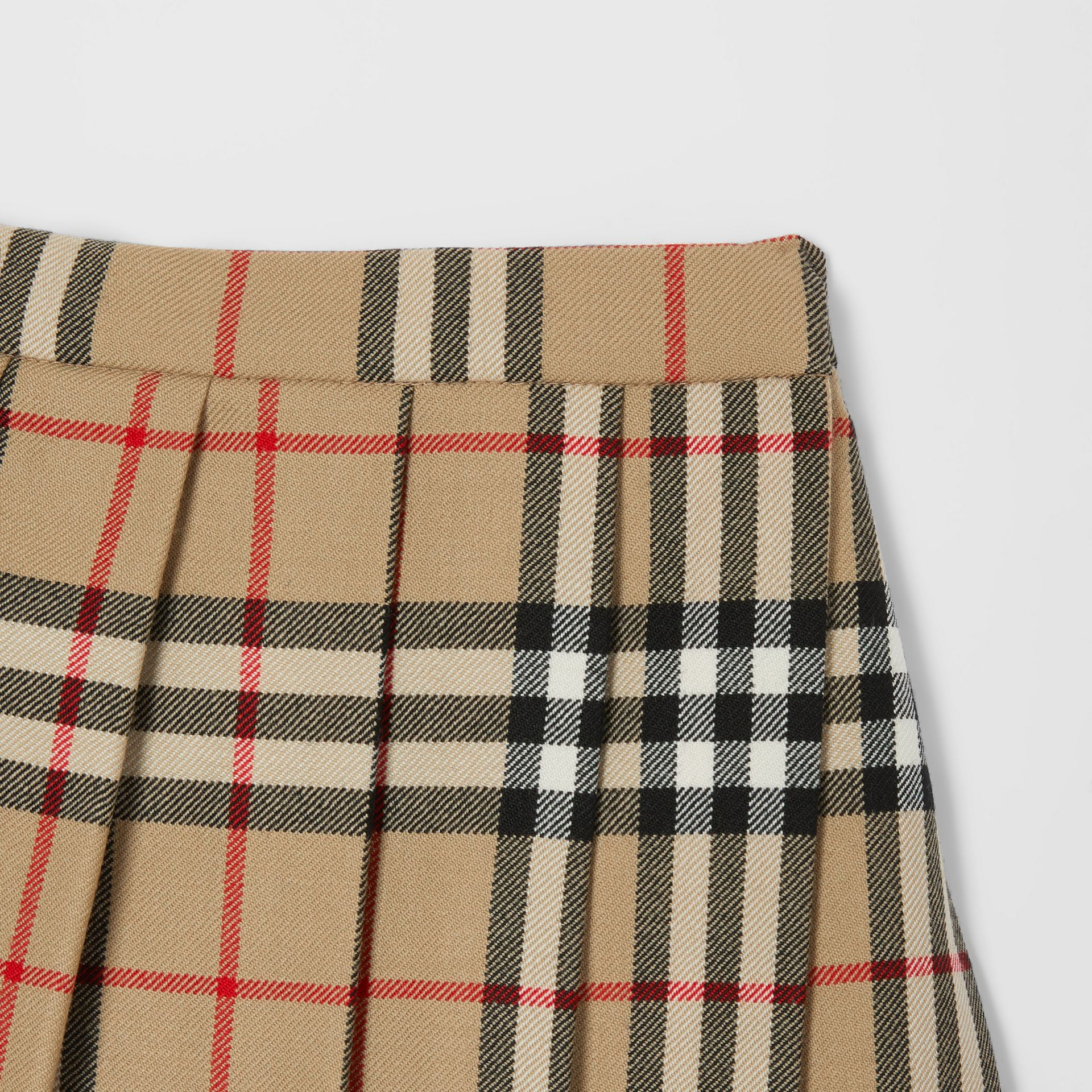 Vintage Check Wool Pleated Wrap Skirt in Archive Beige - Children | Burberry - gallery image 4