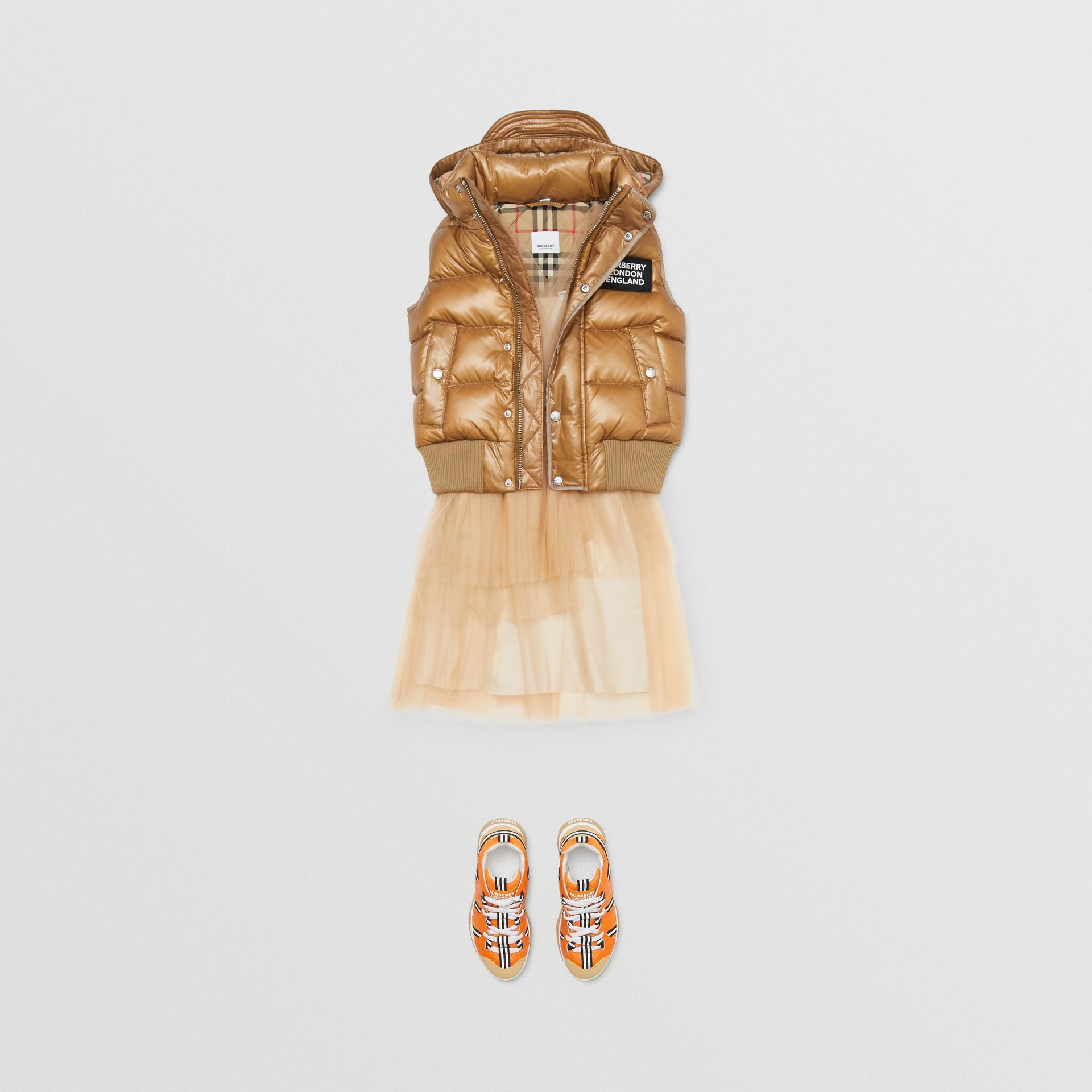Detachable Hood Nylon Puffer Gilet in Camel | Burberry - gallery image 2