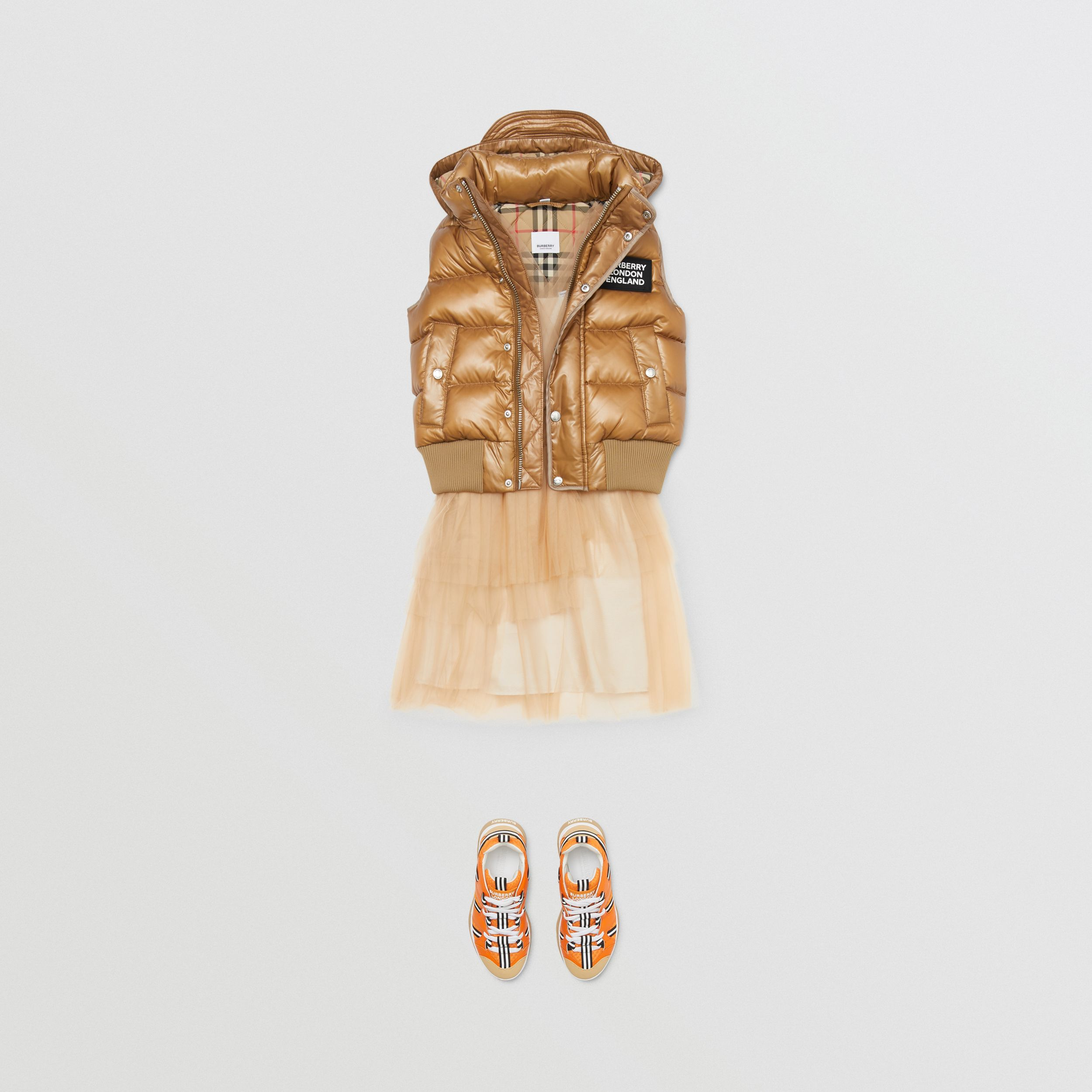 Detachable Hood Nylon Puffer Gilet in Camel | Burberry - 3