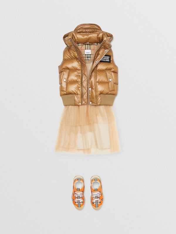 Detachable Hood Nylon Puffer Gilet in Camel | Burberry - cell image 2