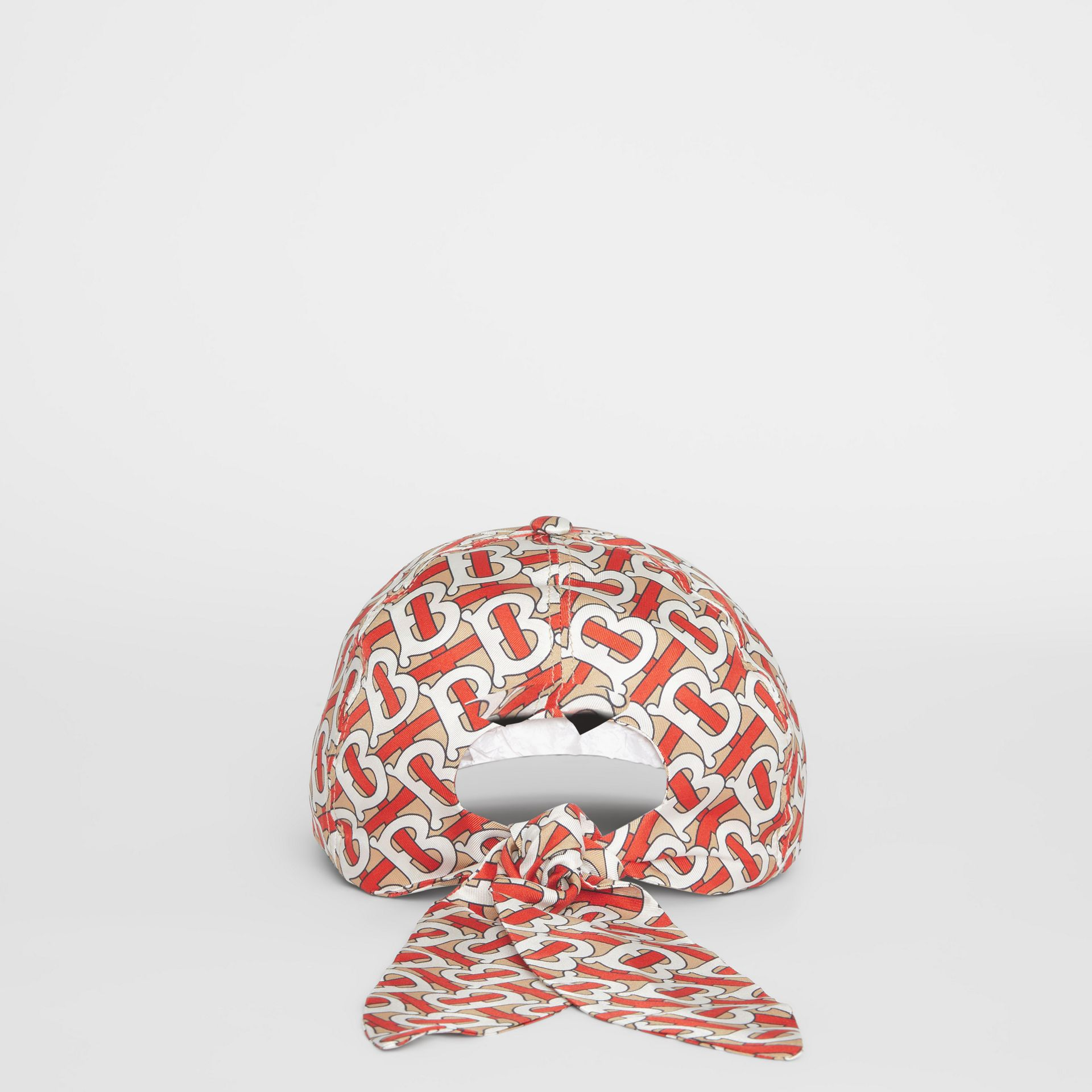 Monogram Print Baseball Cap in Vermillion - Women | Burberry - gallery image 4