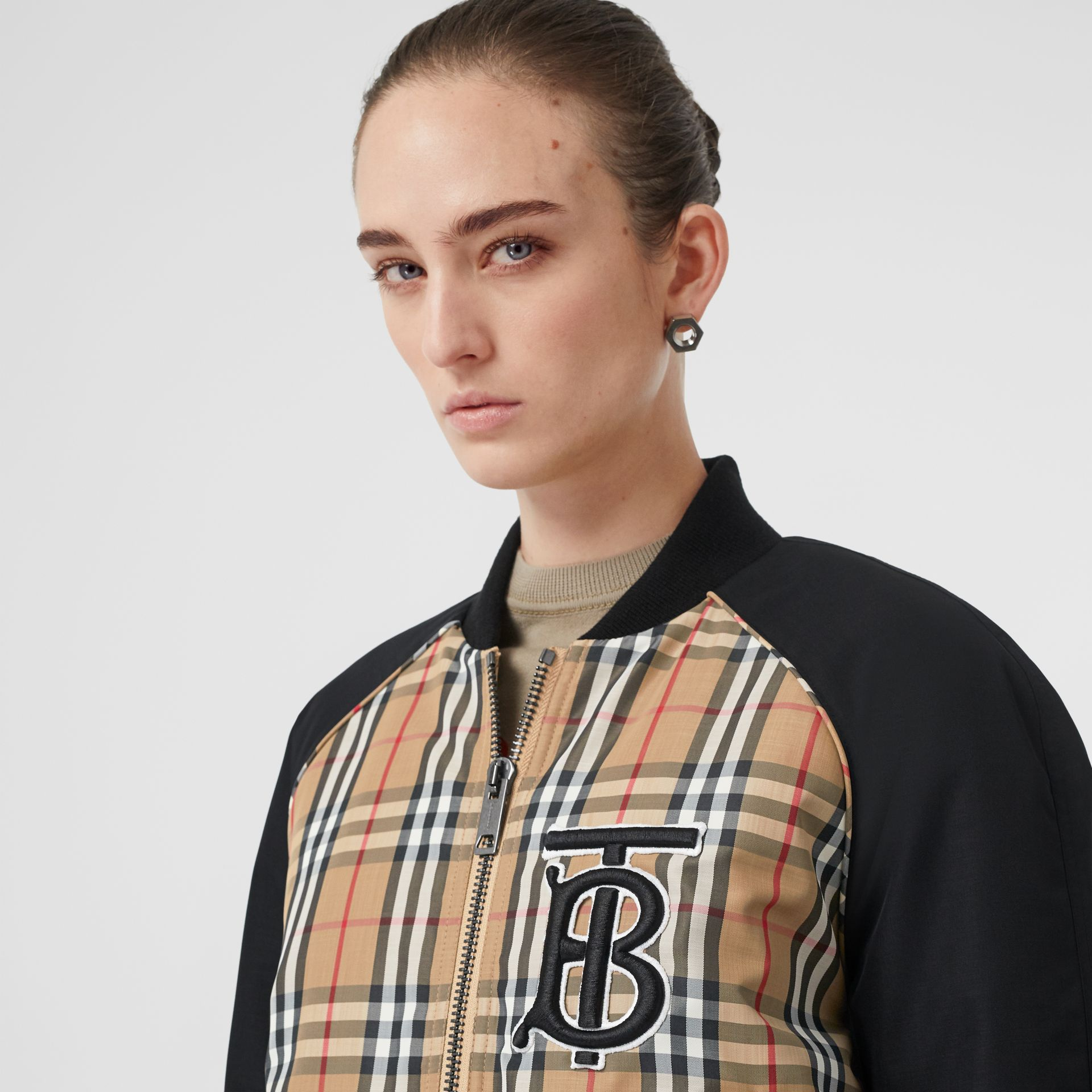 Monogram Motif Vintage Check Bomber Jacket in Black - Women | Burberry United States - gallery image 1