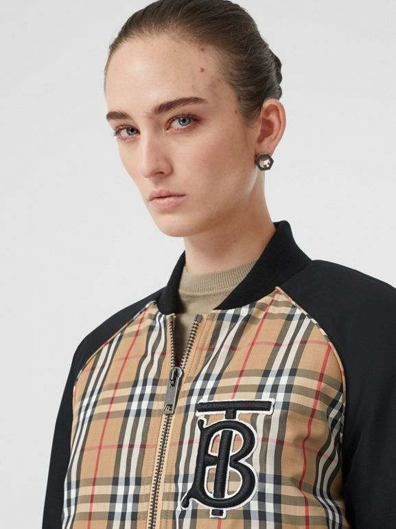Monogram Motif Vintage Check Bomber Jacket in Black - Women | Burberry Australia - cell image 1