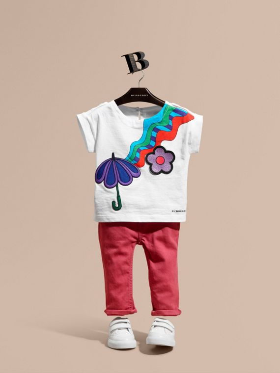 Graphic Print Cotton T-shirt with Appliqué