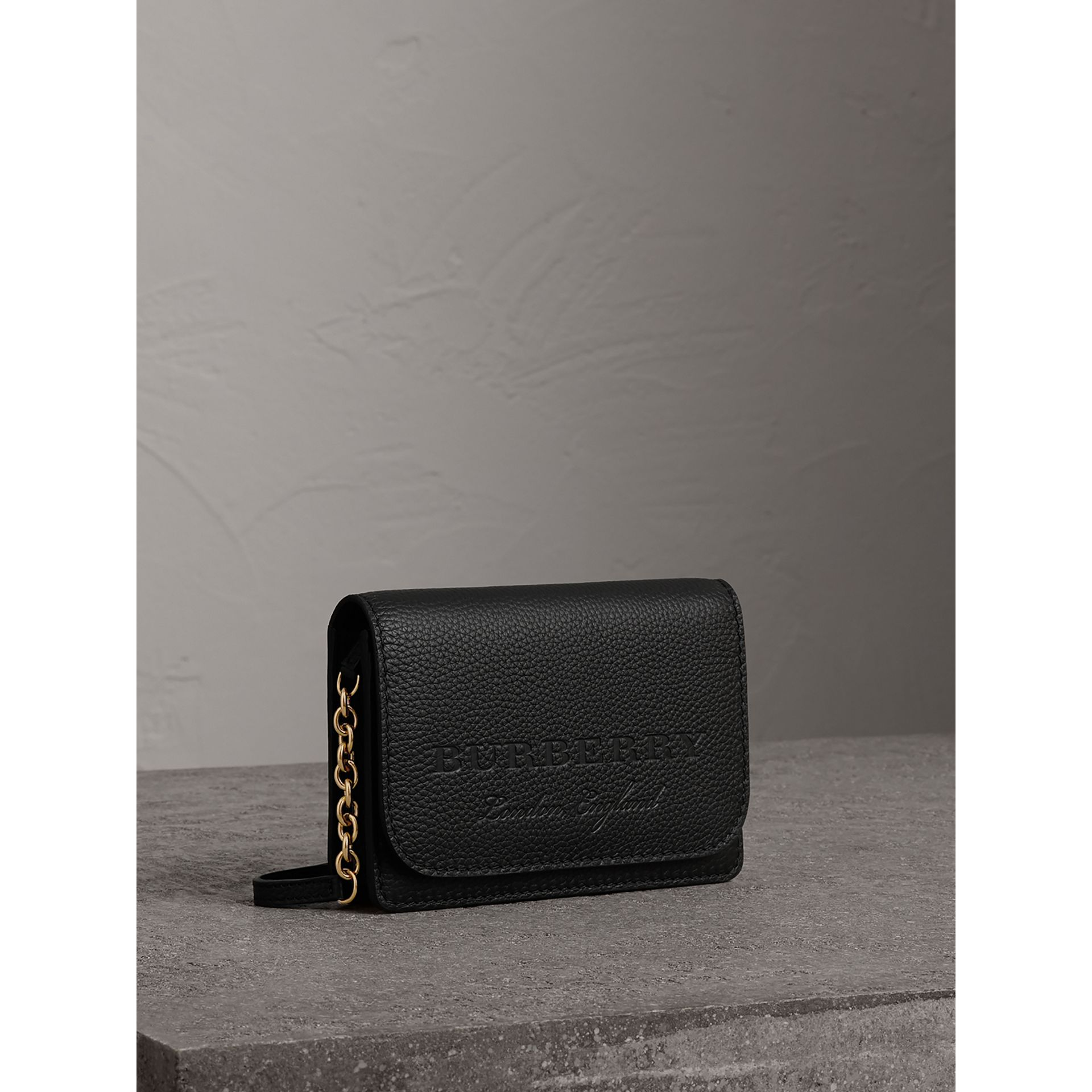 Embossed Leather Wallet with Detachable Strap in Black - Women | Burberry United States - gallery image 6