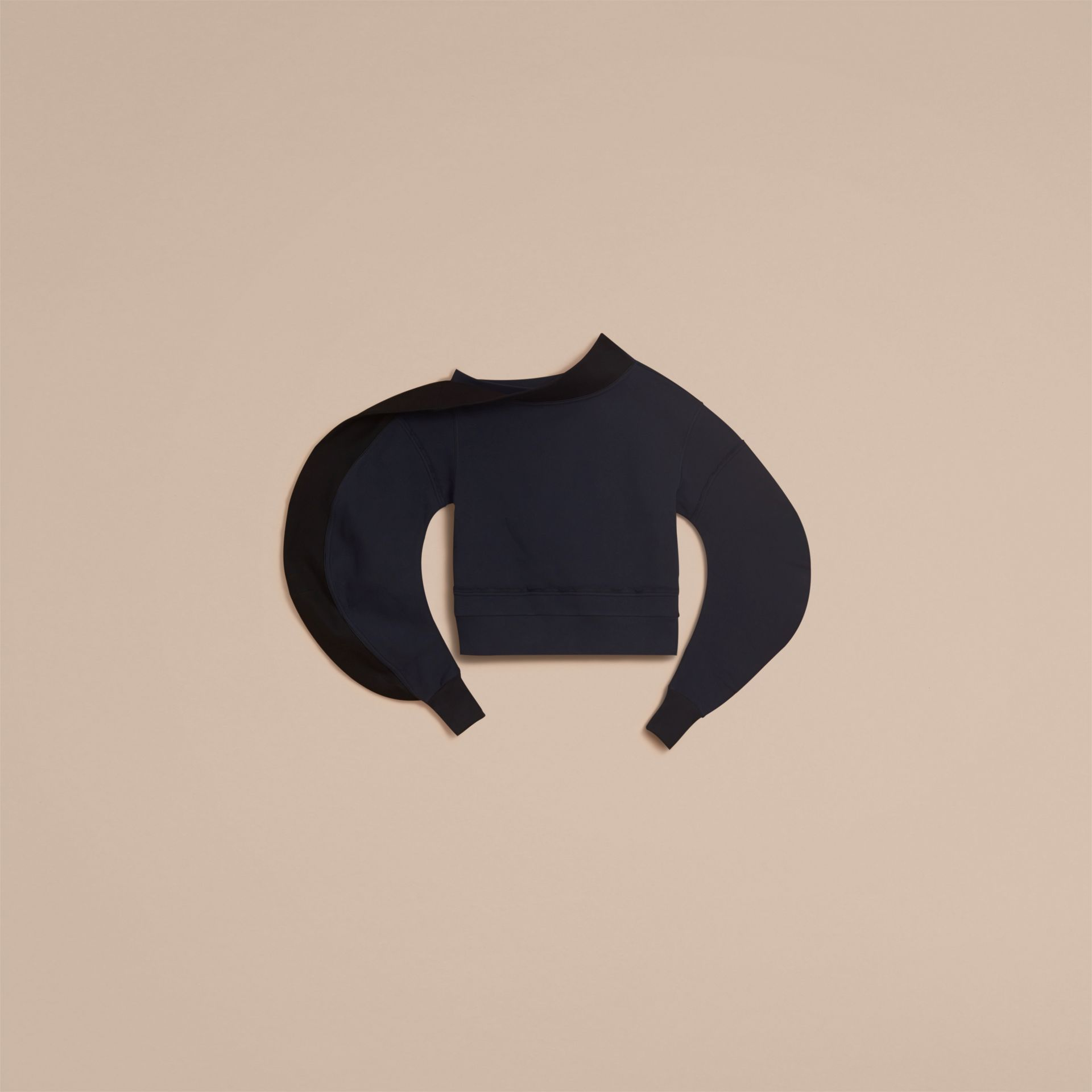 Sculptured-sleeve Asymmetric Sweatshirt in Navy - Women | Burberry - gallery image 4