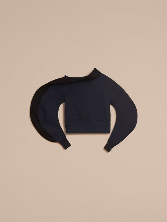 Sculptured-sleeve Asymmetric Sweatshirt in Navy - Women | Burberry - cell image 3