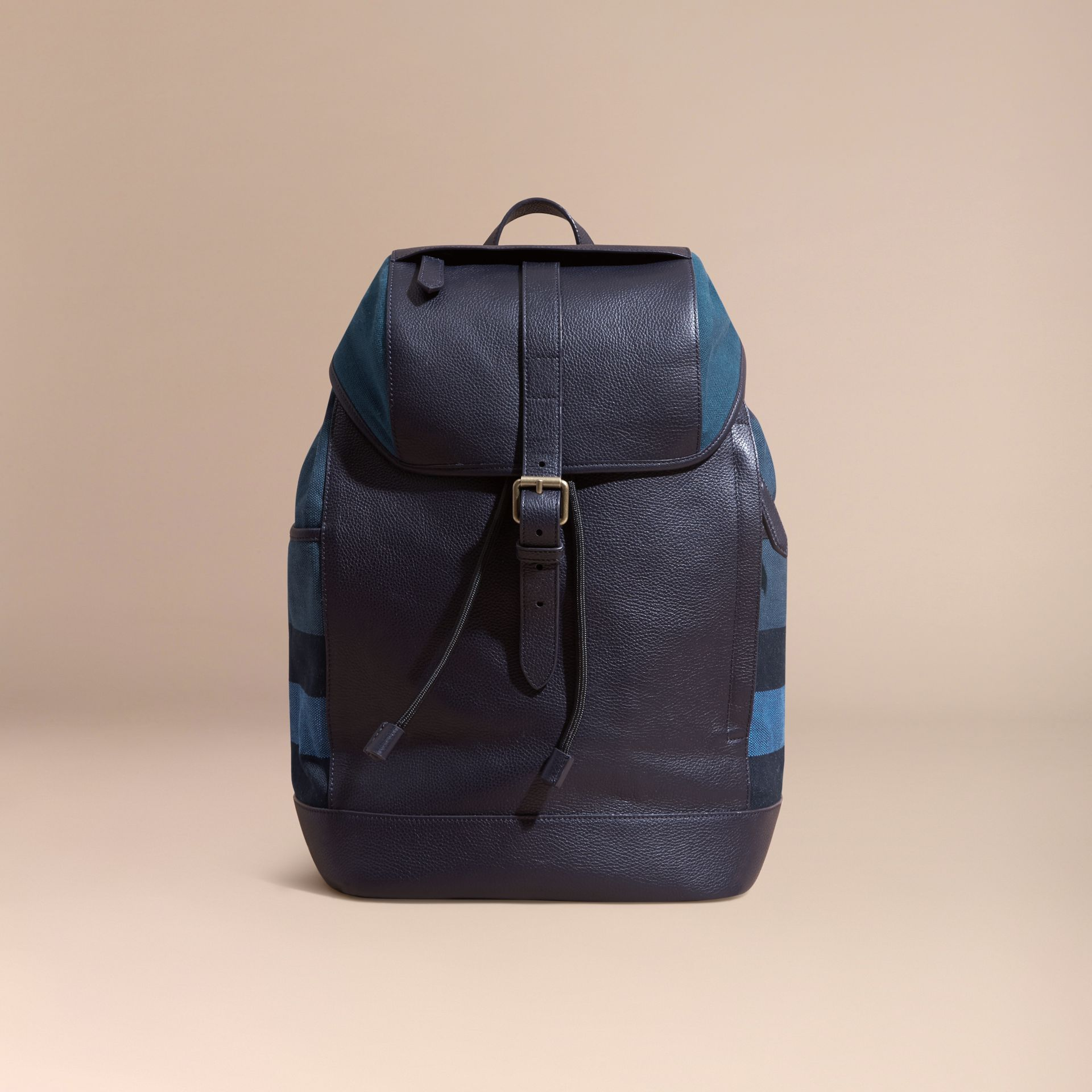 Ultramarine blue Leather and Overdyed Canvas Check Backpack - gallery image 8