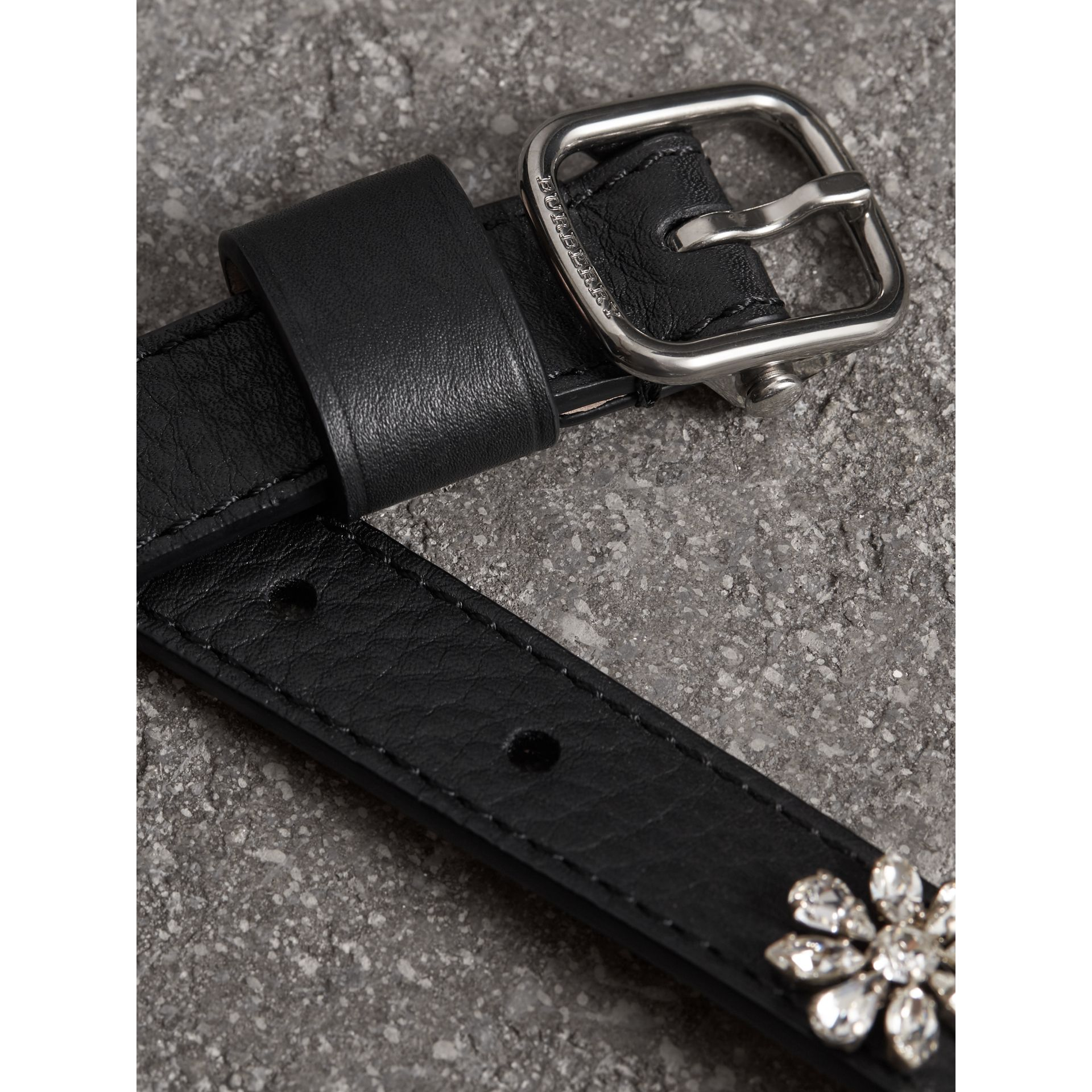 Crystal Daisy Leather Belt in Black - Women | Burberry - gallery image 1