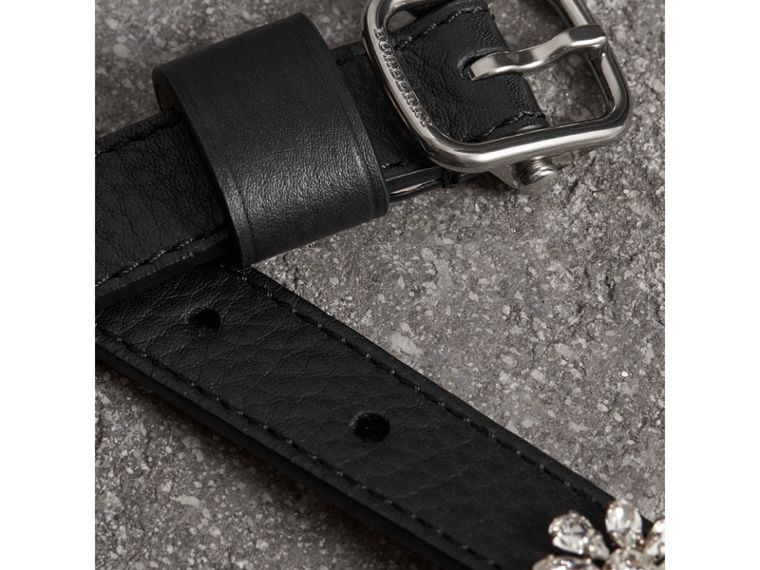 Crystal Daisy Leather Belt in Black - Women | Burberry - cell image 1