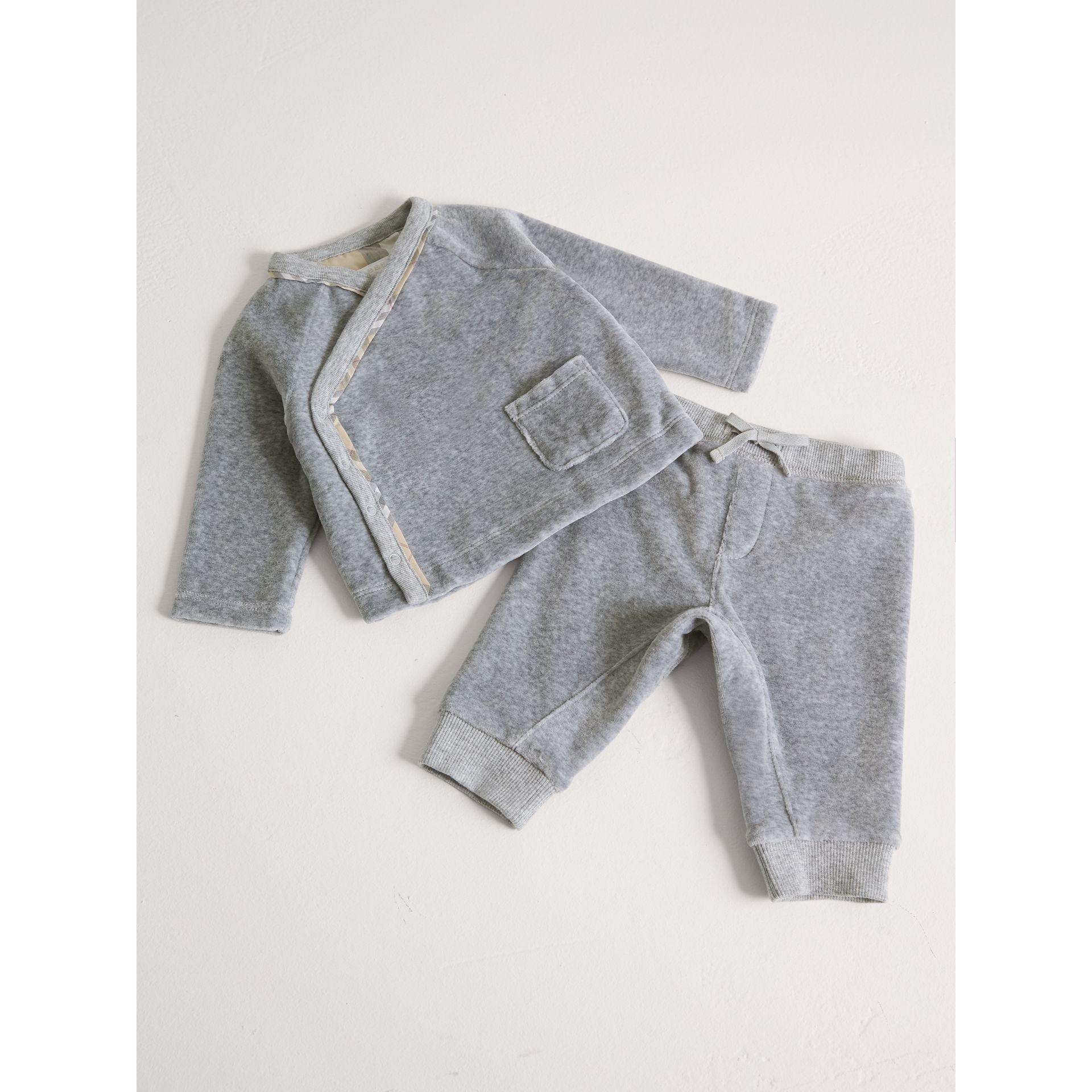 Stretch Jersey Two-piece Baby Gift Set in Grey Melange | Burberry - gallery image 1
