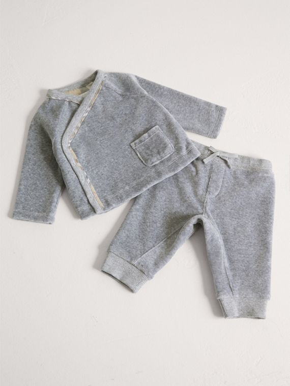 Stretch Jersey Two-piece Baby Gift Set in Grey Melange
