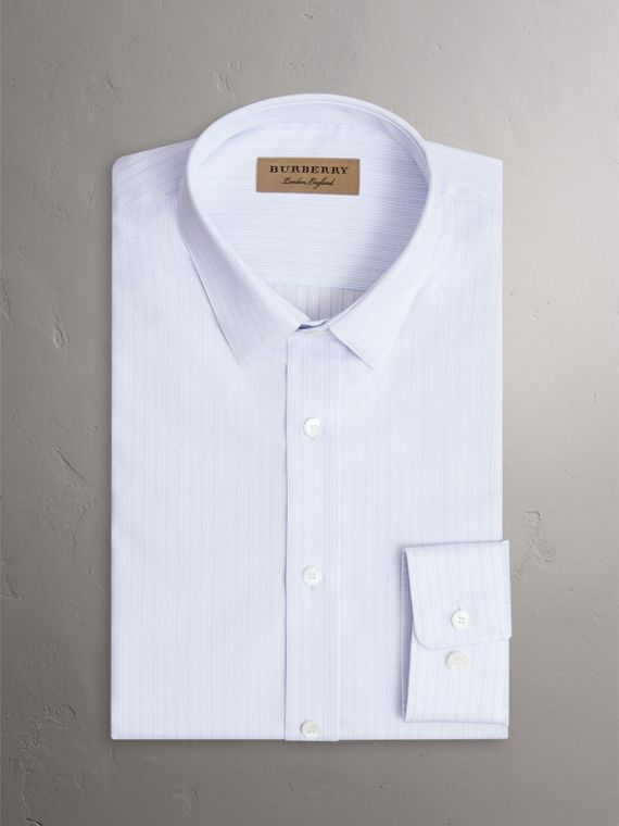Slim Fit Striped Dobby Cotton Shirt in Light Blue - Men | Burberry United Kingdom - cell image 3