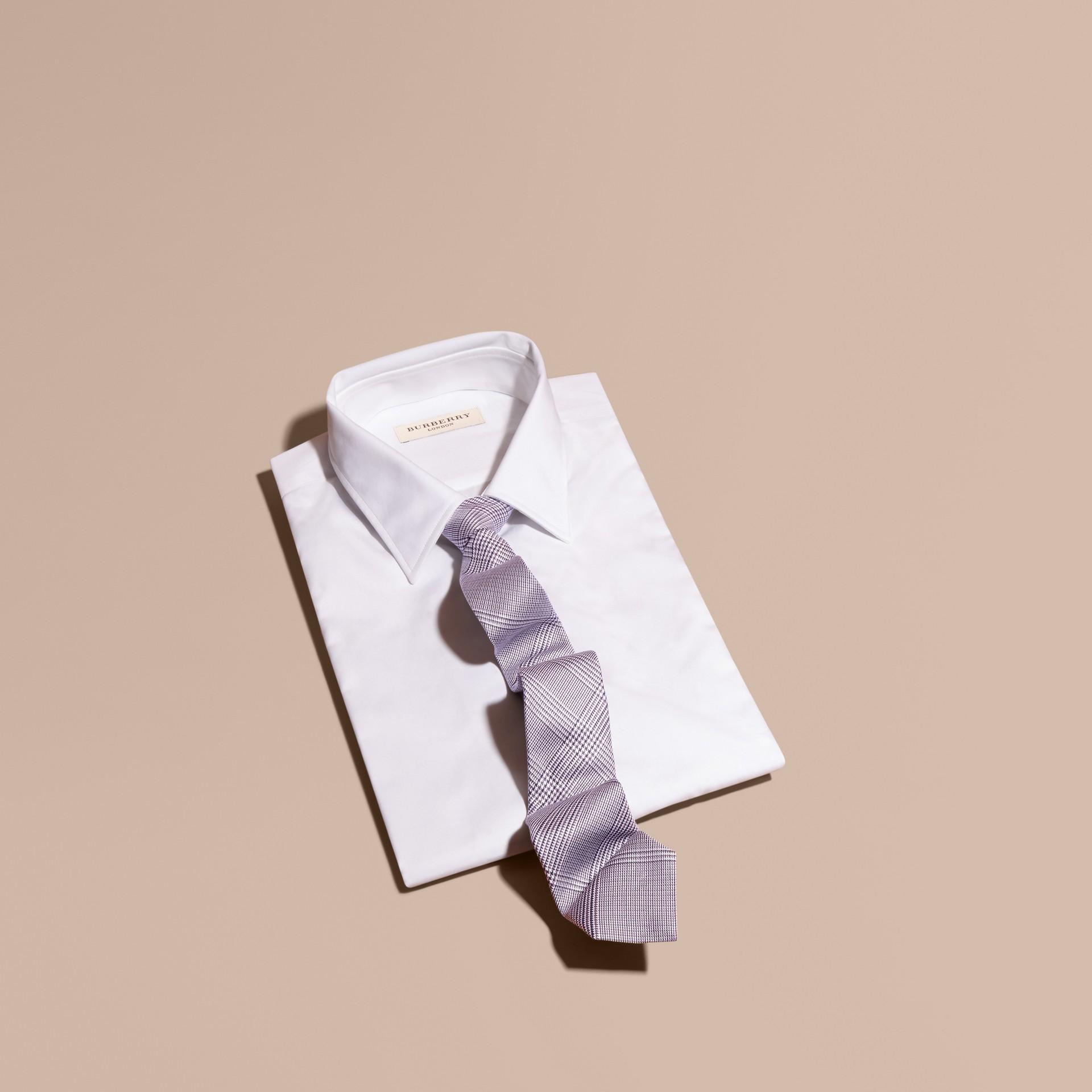 Cuivre rose clair Cravate fine en coton et soie à motif check Cuivre Rose Clair - photo de la galerie 1