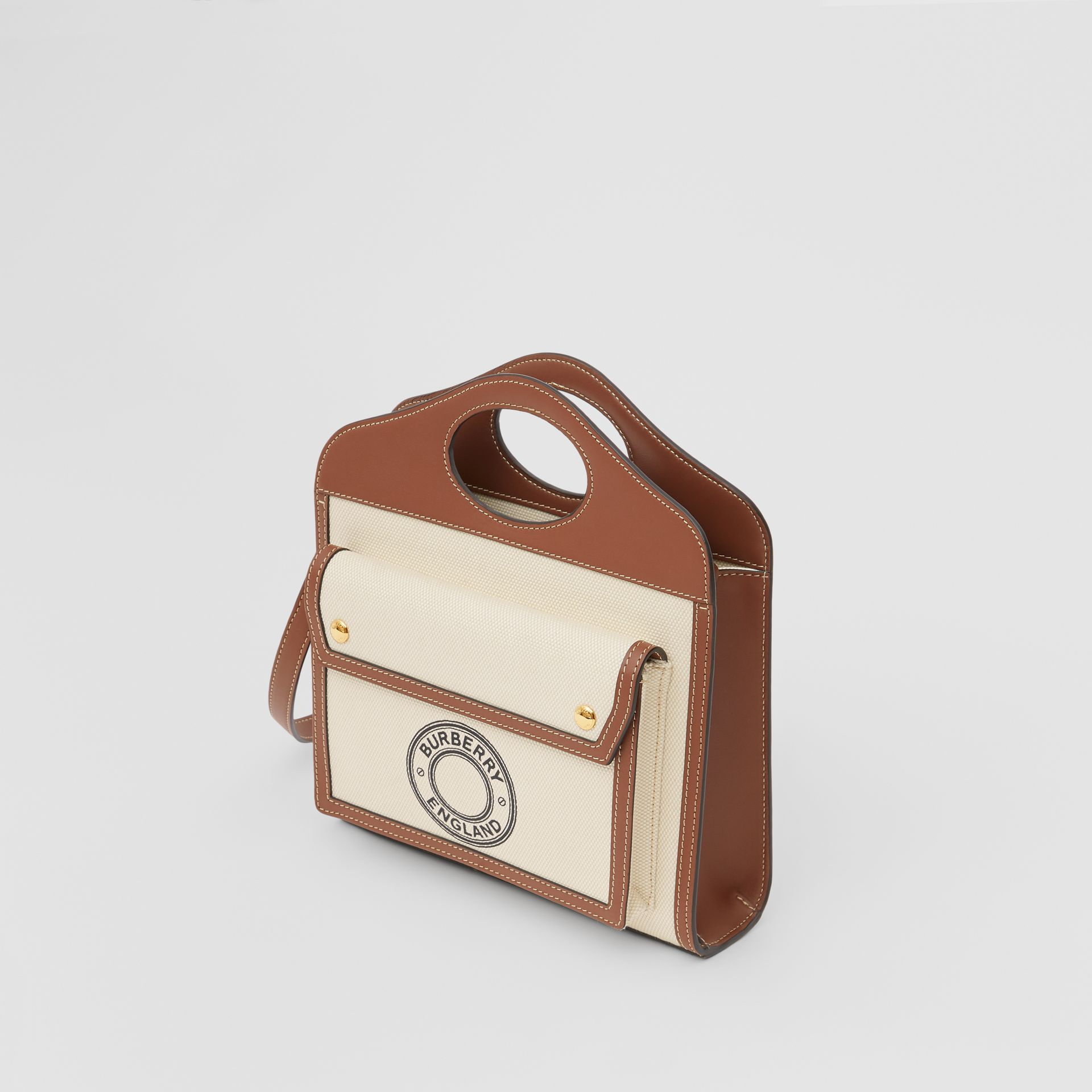 Mini Logo Graphic Canvas and Leather Pocket Bag in Tan - Women | Burberry Australia - gallery image 3