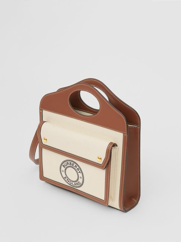 Mini Logo Graphic Canvas and Leather Pocket Bag in Tan - Women | Burberry Canada - cell image 3