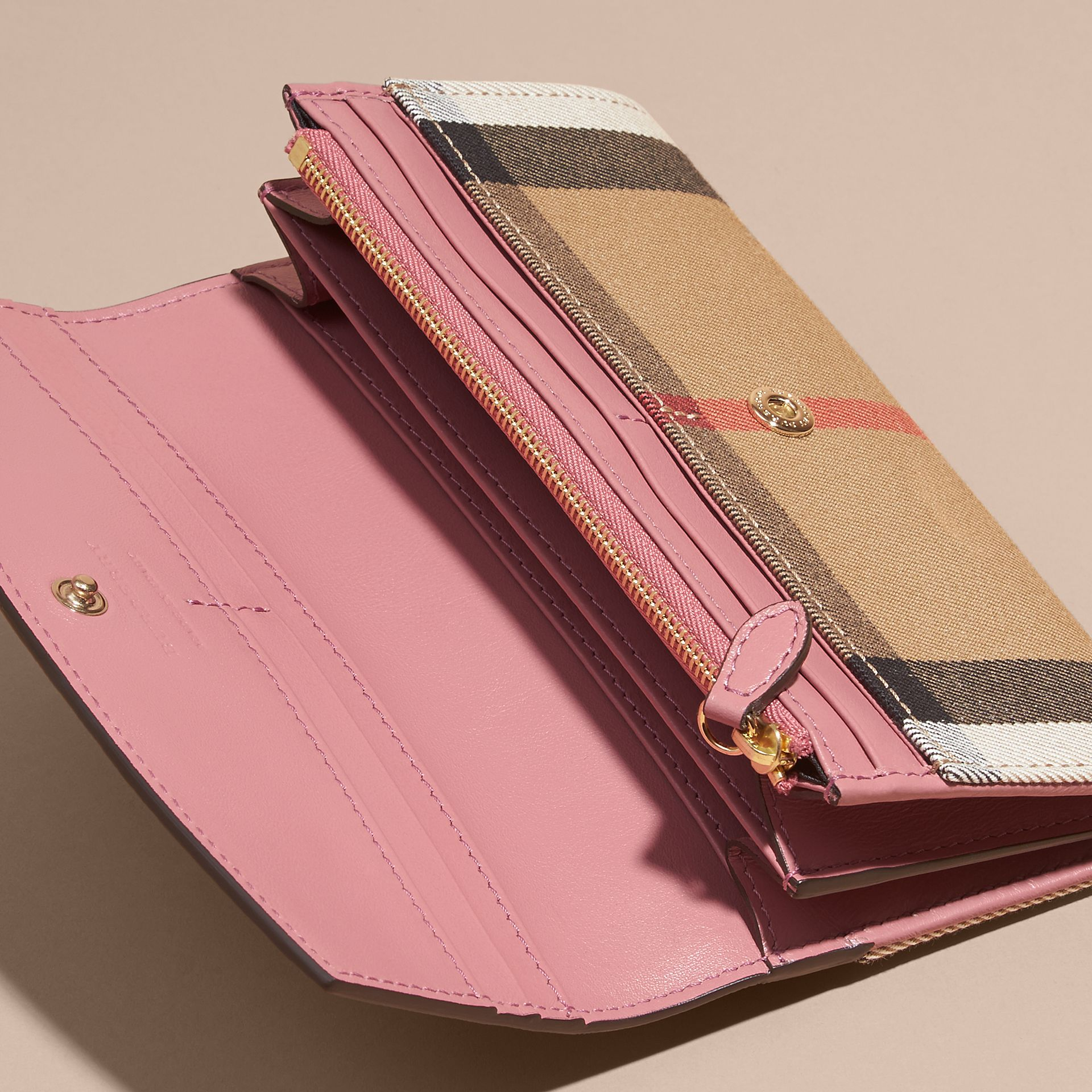 House Check and Leather Continental Wallet Mauve Pink - gallery image 5