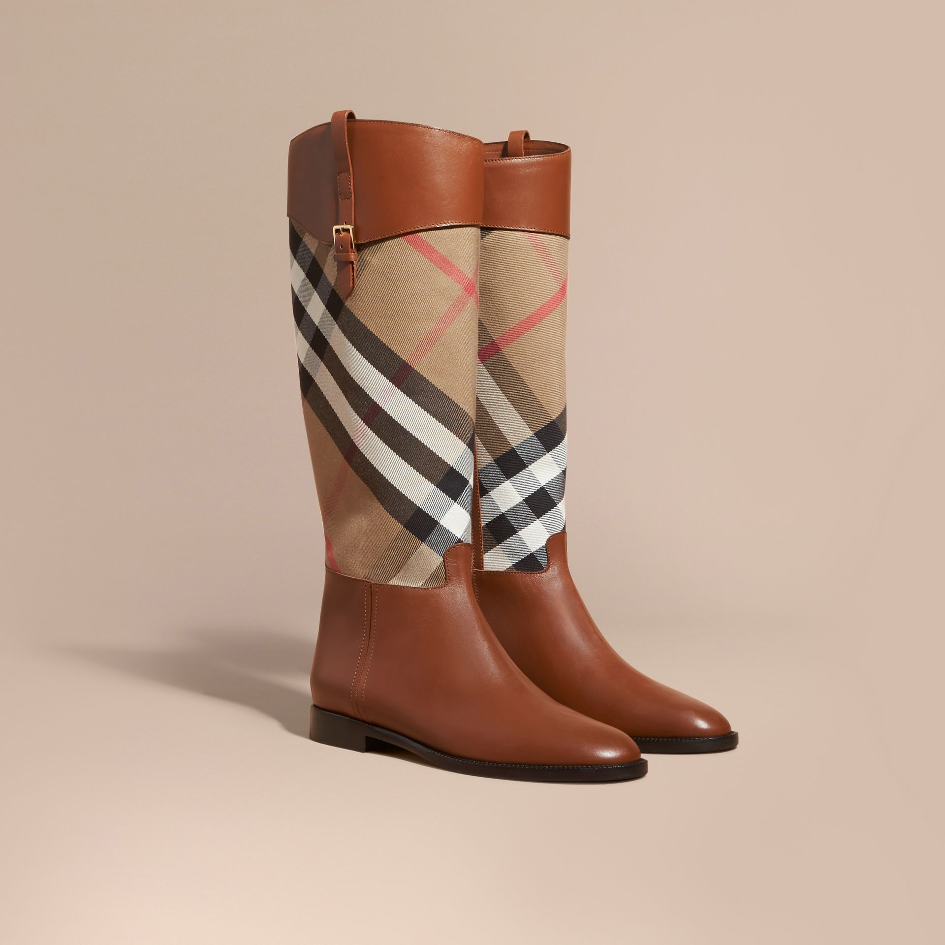 House Check and Leather Riding Boots Chestnut - gallery image 1