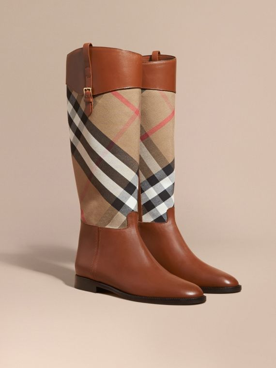 House Check and Leather Riding Boots in Chestnut - Women | Burberry Australia