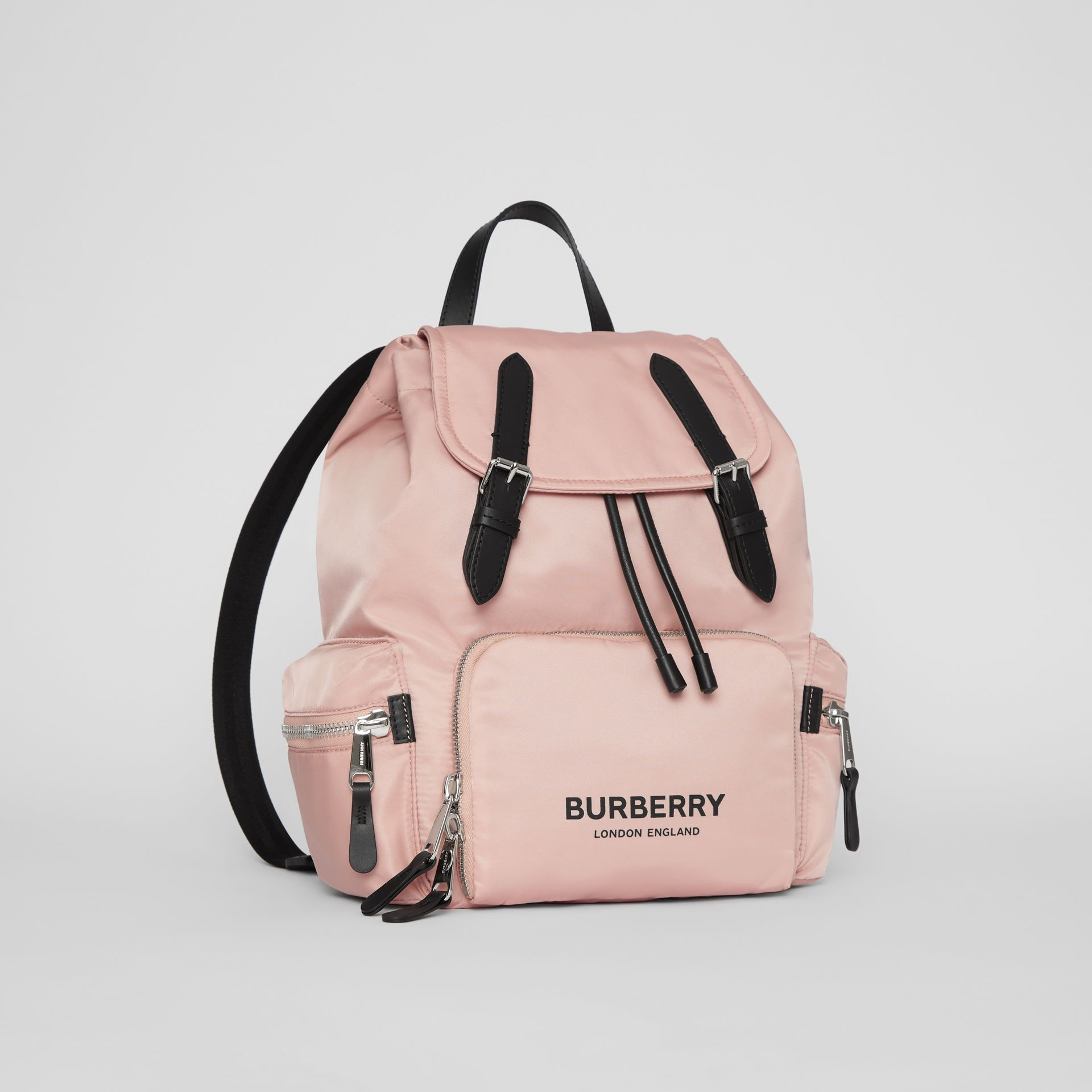 The Medium Rucksack in Logo Print Nylon in Rose Beige - Women | Burberry - gallery image 4