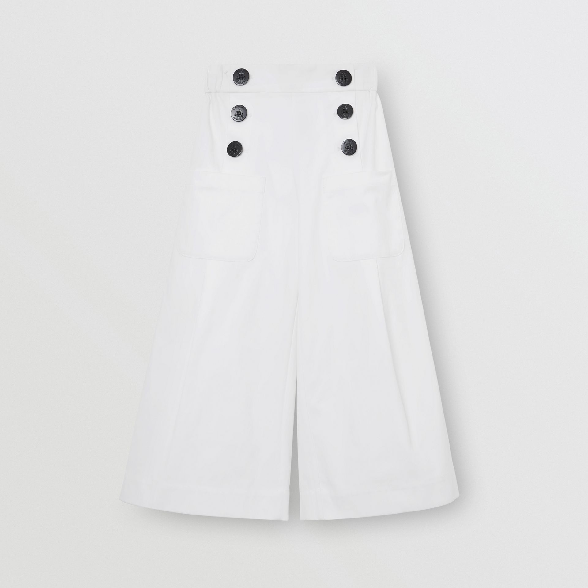Cotton Blend Sailor Trousers in White | Burberry - gallery image 0