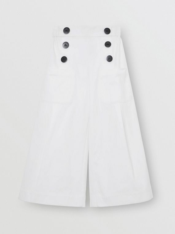 Cotton Blend Sailor Trousers in White