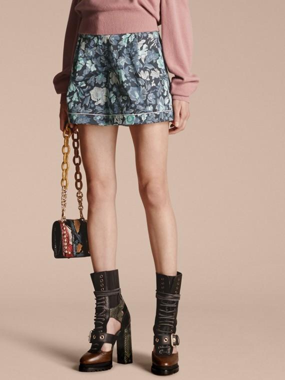 Floral Print Cotton Pyjama-style Shorts