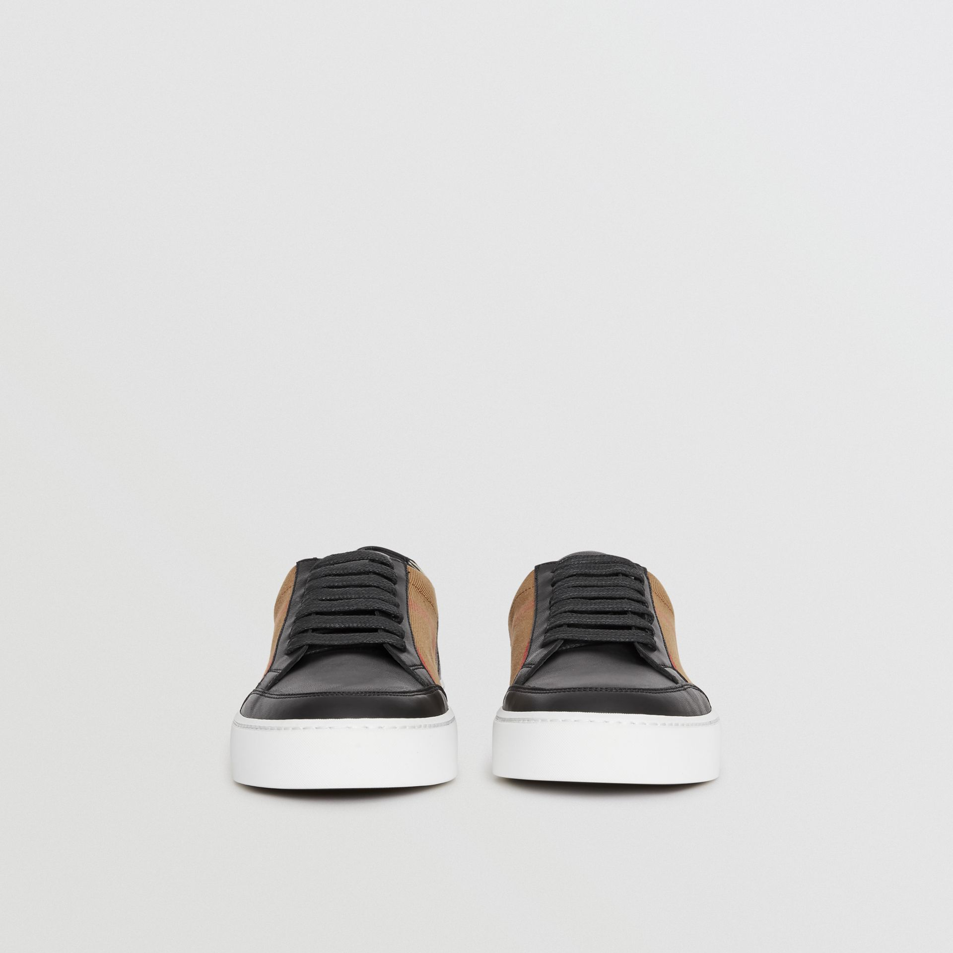 Check Detail Leather Sneakers in House Check/black - Women | Burberry Canada - gallery image 3