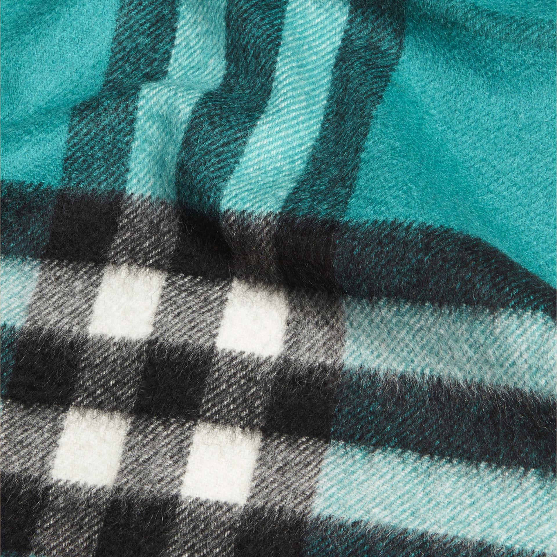 Dark aqua The Mini Classic Cashmere Scarf in Check Dark Aqua - gallery image 4