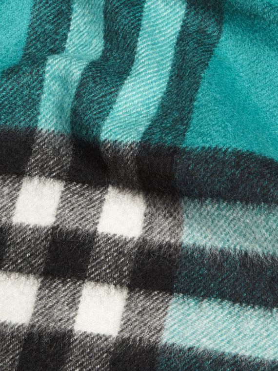 Dark aqua The Mini Classic Cashmere Scarf in Check Dark Aqua - cell image 3