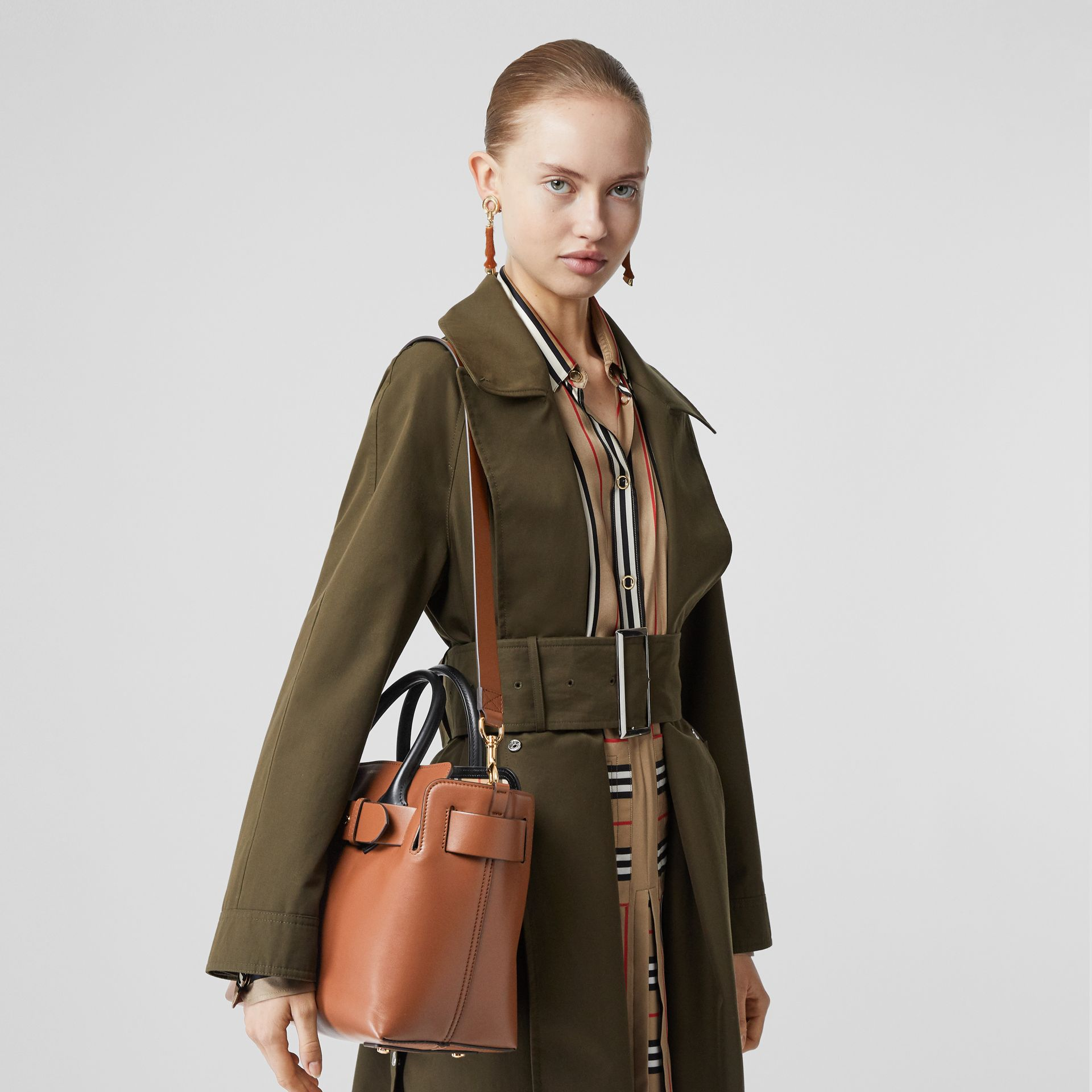 The Small Leather Triple Stud Belt Bag in Malt Brown - Women | Burberry Australia - gallery image 2