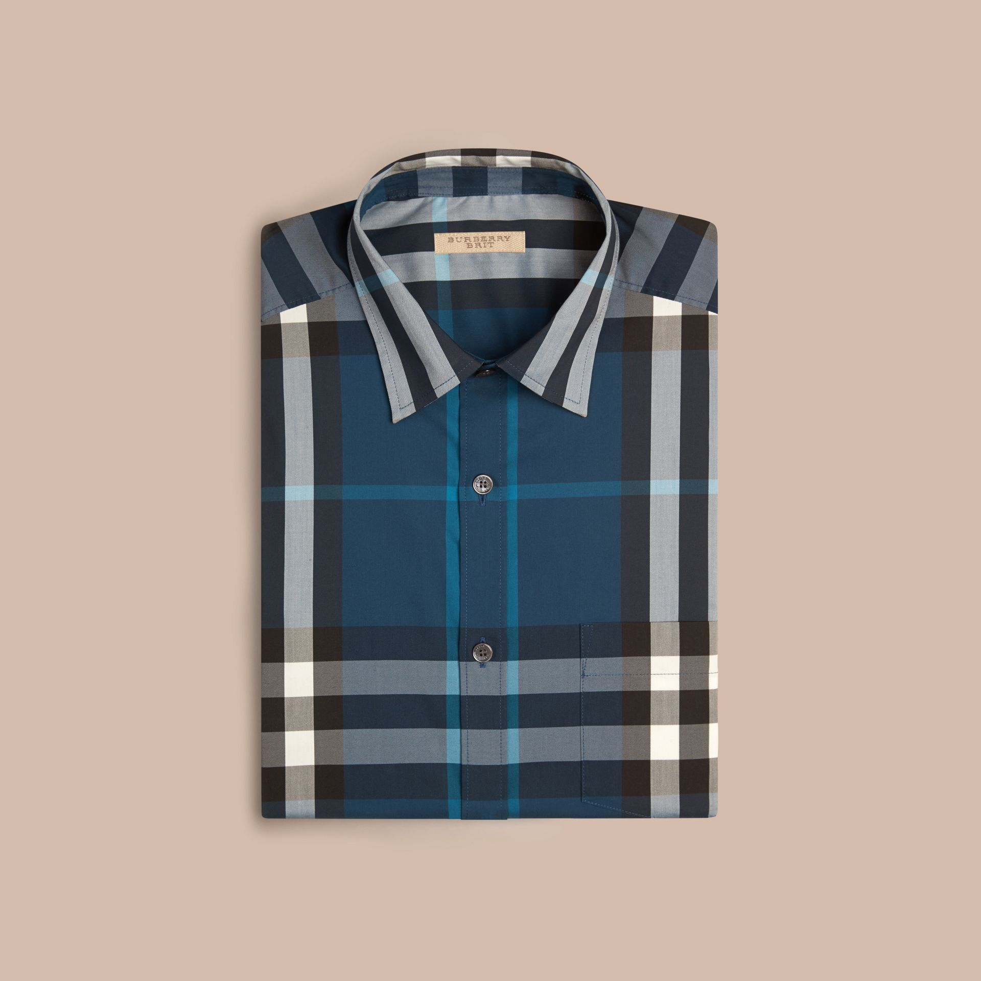 Marine blue Check Stretch Cotton Shirt Marine Blue - gallery image 4