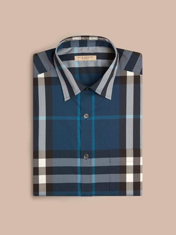 Marine blue Check Stretch Cotton Shirt Marine Blue - cell image 3