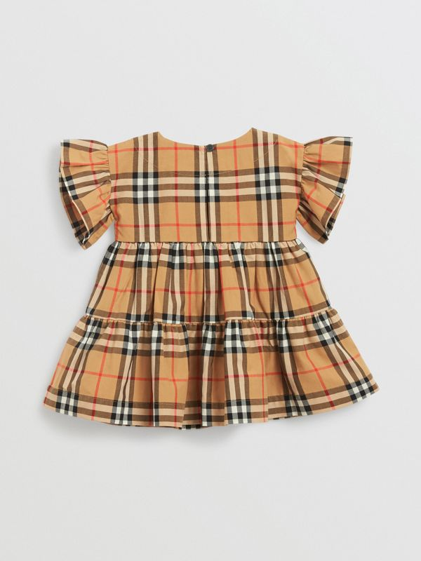 Ruffle Detail Vintage Check Dress with Bloomers in Antique Yellow - Children | Burberry United States - cell image 2