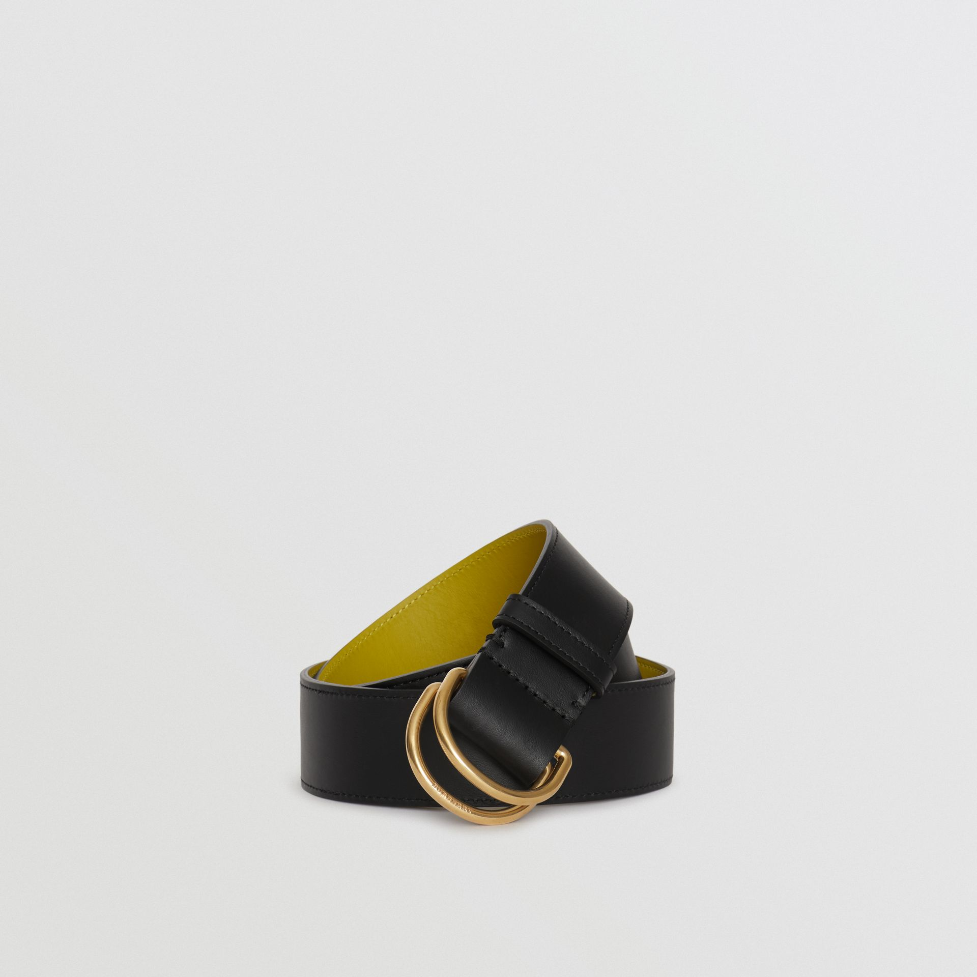 Leather Double D-ring Belt in Black/lemon Quartz - Women | Burberry Hong Kong - gallery image 0