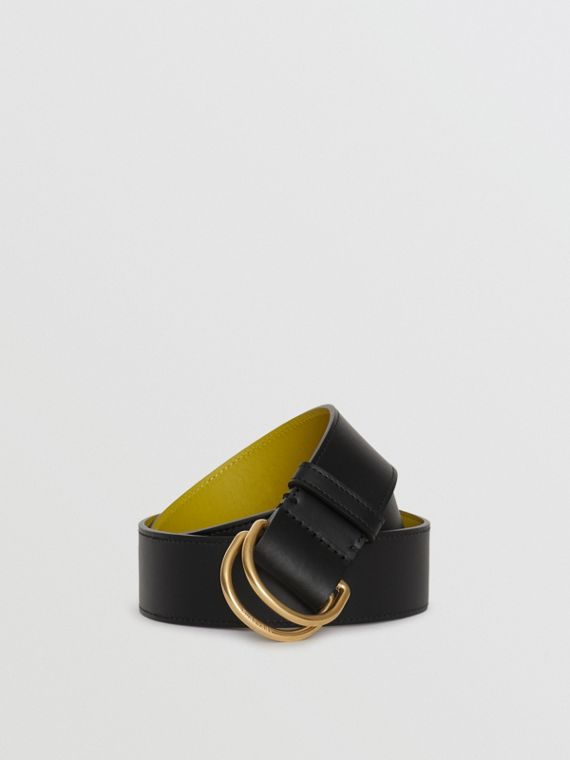 Leather Double D-ring Belt in Black/lemon Quartz