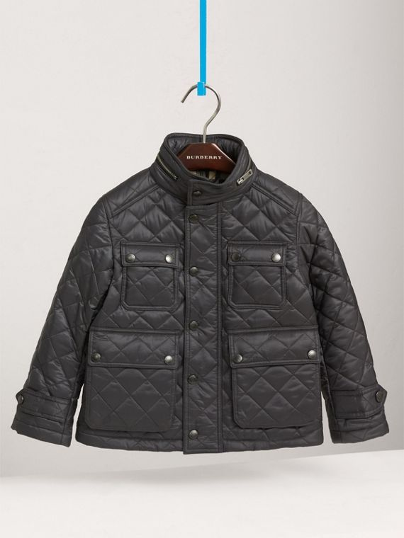 Diamond Quilted Field Jacket in Dark Grey - Boy | Burberry - cell image 2