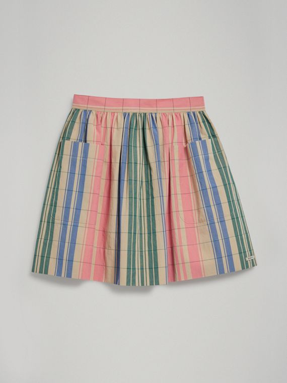 Check Gathered Cotton Skirt in Bright Coral Pink