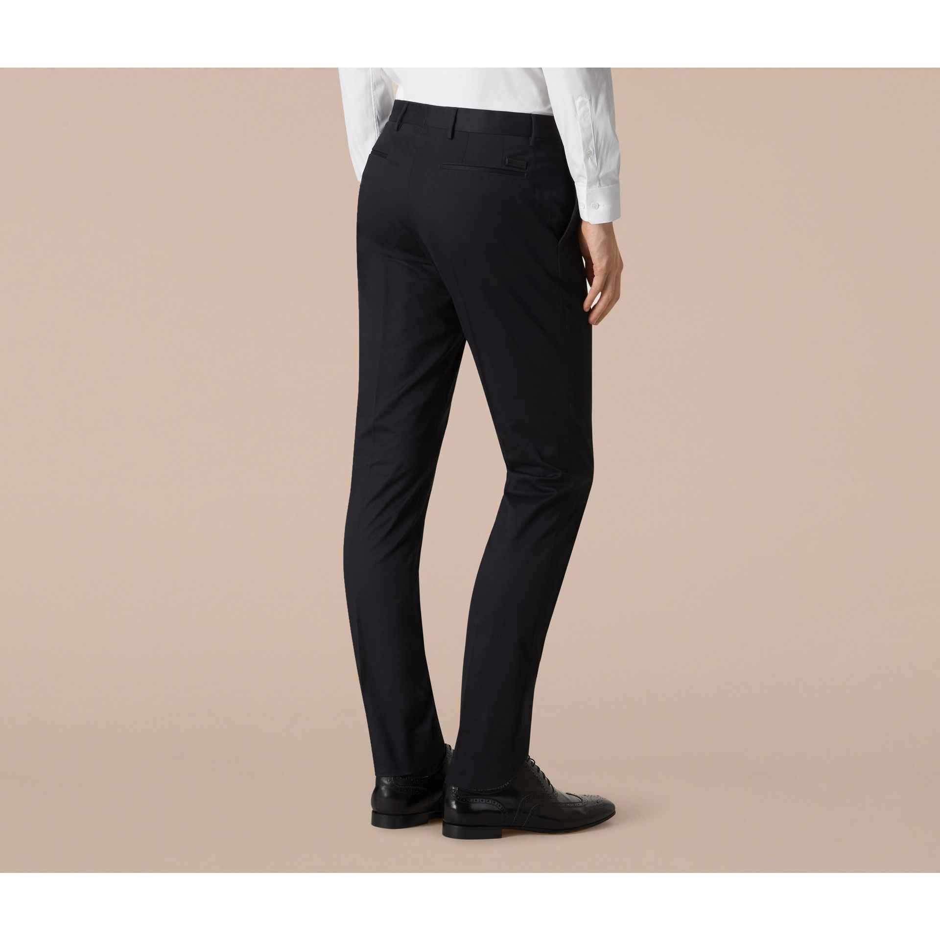 Navy Slim Fit Cotton Trousers - gallery image 3