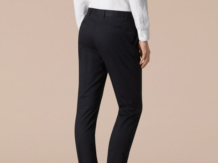 Navy Slim Fit Cotton Trousers - cell image 2