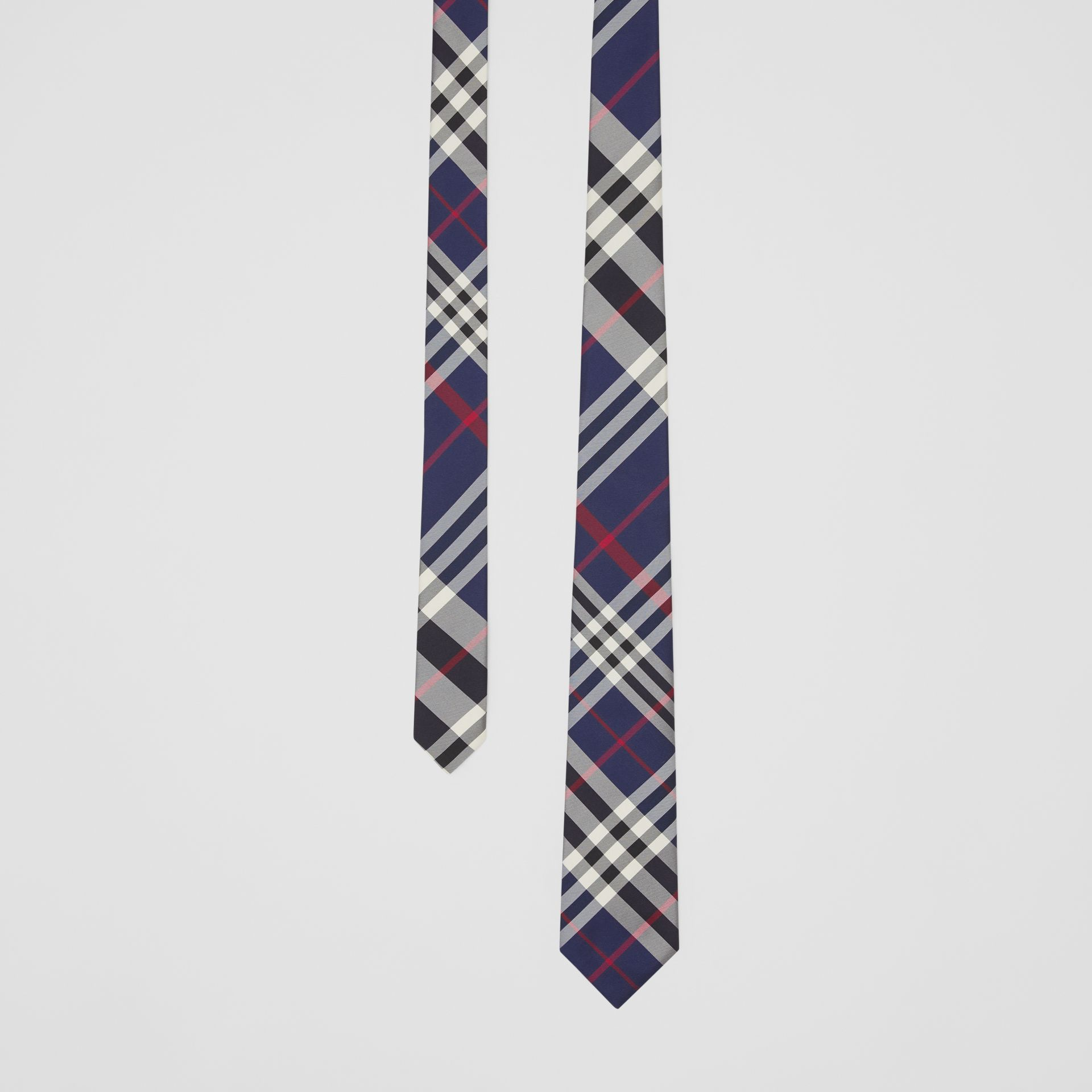 Classic Cut Check Silk Tie in Navy - Men | Burberry - gallery image 0